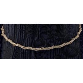 Ασημένια Στέφανα Γάμου 580 Βέργα Με Χρυσό Δέρμα Και Swarovski
