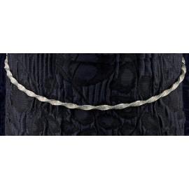 Ασημένια Στέφανα Γάμου 586 Βέργα Στριφτή Και Crystal Fabric