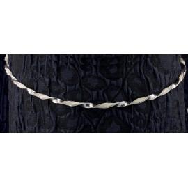 Ασημένια Στέφανα Γάμου 598 Βέργα Με Ιριζέ Δέρμα