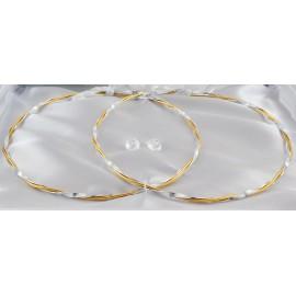 Δίχρωμα Στέφανα Γάμου Οικονομικά Ασημί-Χρυσό 7253