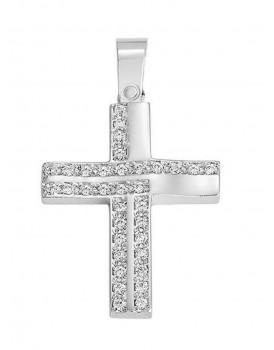 Σταυρός Βάπτισης Από Λευκόχρυσο 14K 12414