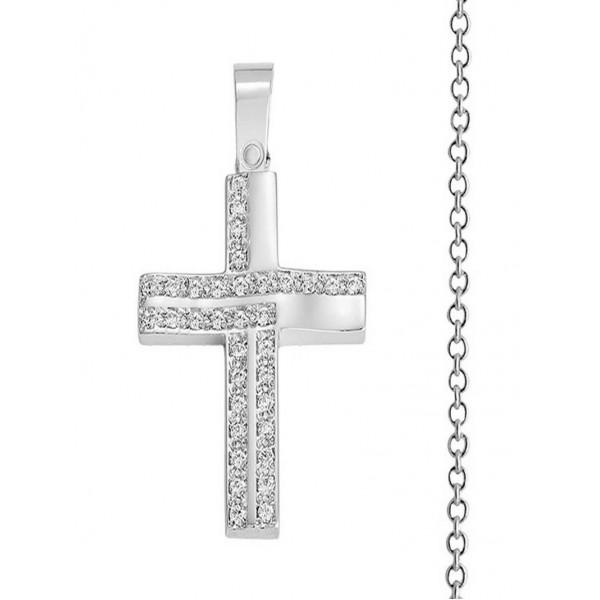 Βαπτιστικός Σταυρός Κορίτσι Λευκόχρυσος 14K Με Αλυσίδα Σετ 12414