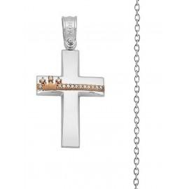 Βαπτιστικός Σταυρός Κορίτσι Από Λευκόχρυσο 14K Με Αλυσίδα Σετ 16147