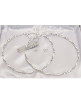 Στέφανα Γάμου Οικονομικά Ασημί-Λευκά 7277