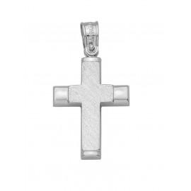 Σταυρός Βάπτισης Από Λευκόχρυσο 14K 13409