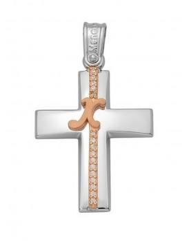 Σταυρός Βάπτισης Από Λευκόχρυσο 14Κ Με Μονόγραμμα Και Πέτρες 14159