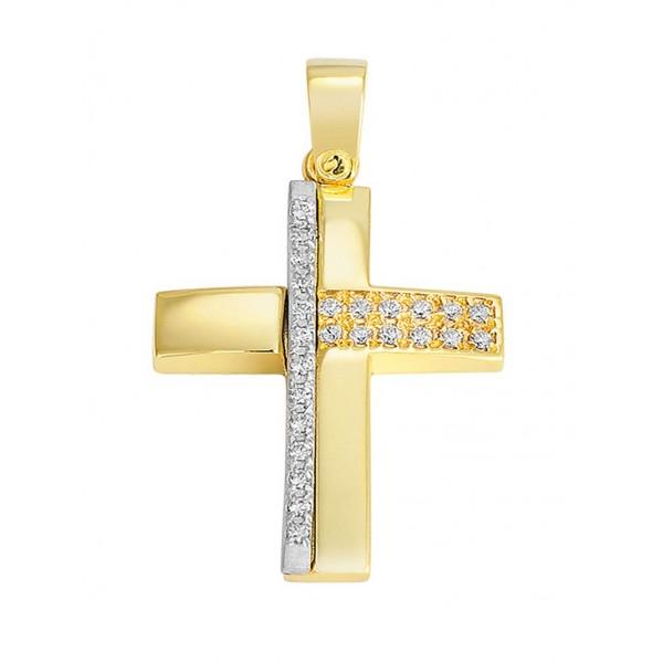 Σταυρός Βάπτισης Κορίτσι Χρυσός 14Κ Με Πέτρες 12354
