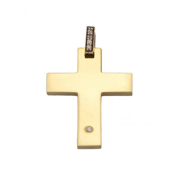 Σταυρός Βάπτισης Κορίτσι Χρυσός 14Κ Με Πέτρες 13869