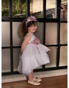 Βαπτιστικό Φόρεμα Dolce Bambini Τούλι-Δαντέλα 544-1
