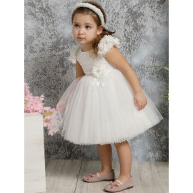 Βαπτιστικό Φόρεμα Mi Chiamo Κ4313Φ-Ι Δαντέλα-Τούλι Ivory