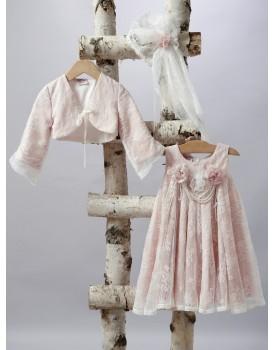 Βαπτιστικό Φόρεμα New Life 2502-6 Σάπιο Μήλο Δαντέλα Με Μπολερό