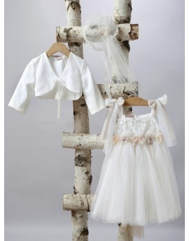 Βαπτιστικό Φόρεμα New Life 2510-2 Εκρού Τούλι Με Μπολερό