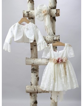 Βαπτιστικό Φόρεμα New Life 2522-2 Δαντέλα Εκρού Με Ουρά Και Ζακετάκι
