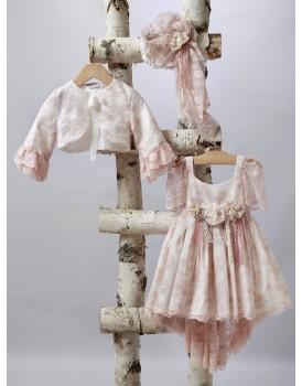 Βαπτιστικό Φόρεμα New Life 2522-6 Δαντέλα Σάπιο Μήλο Με Ουρά Και Μπολερό