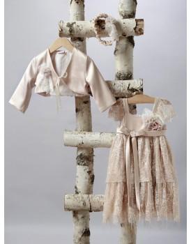 Βαπτιστικό Φόρεμα New Life 2530-3 Μπεζ Τούλι Με Πούλιες Και Ζακετάκι