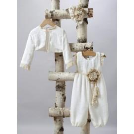 Βαπτιστικό Σαλβάρι - Παντελόνα Βάπτισης New Life 2506-2 Λινή Εκρού Με Μπολερό