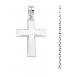 Βαπτιστικός Σταυρός Από Λευκόχρυσο 14K Με Αλυσίδα Σετ 12486