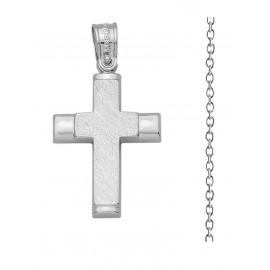 Βαπτιστικός Σταυρός Από Λευκόχρυσο 14K Με Αλυσίδα Σετ 13409