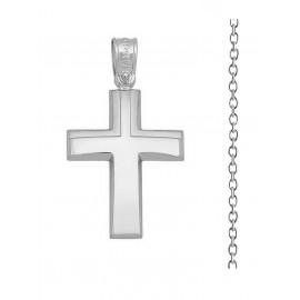 Βαπτιστικός Σταυρός Αγόρι Από Λευκόχρυσο 14K Με Αλυσίδα Σετ 14797